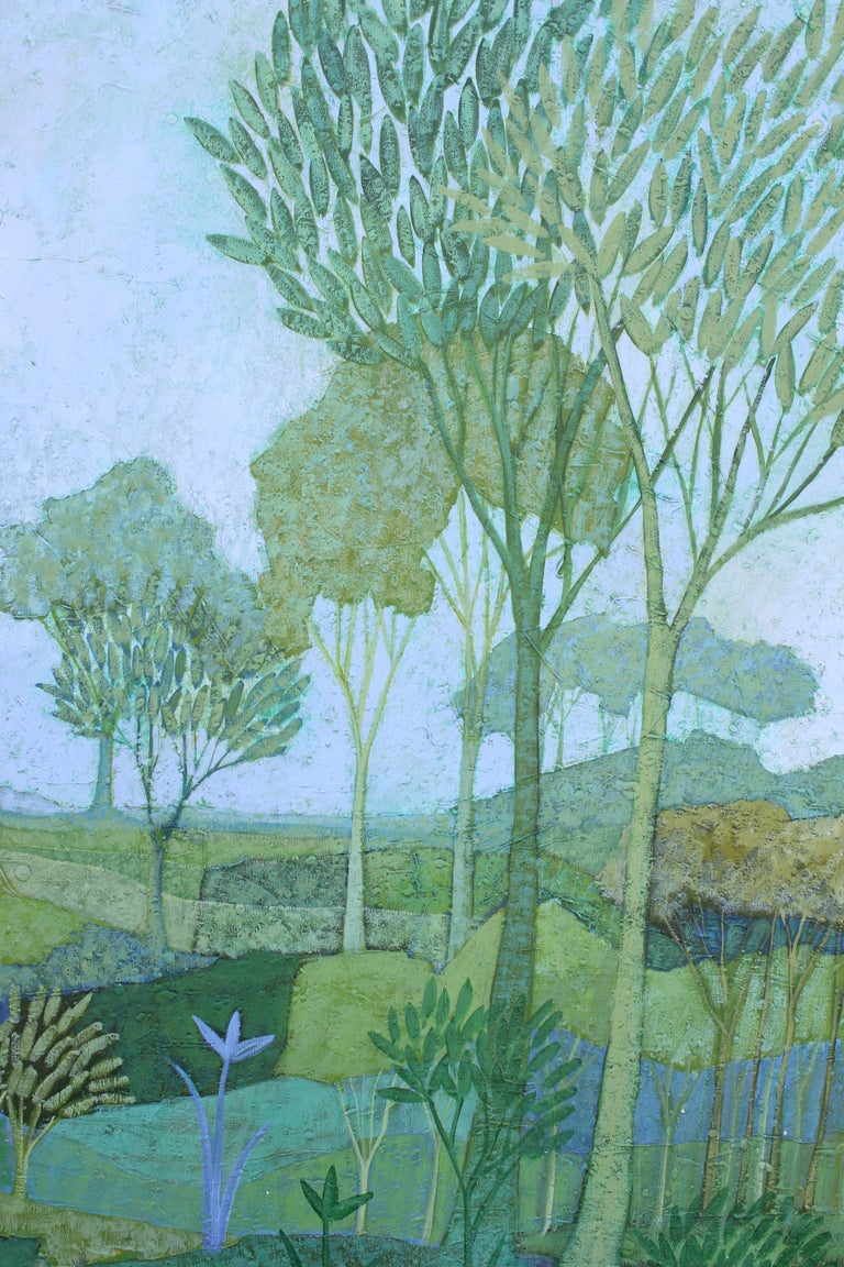Blue, Green and Purple Tonal Landscape Painting For Sale 1