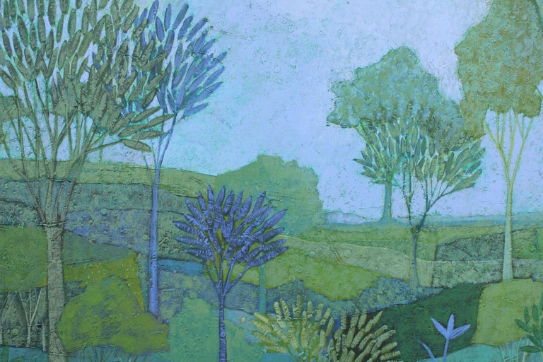 Blue, Green and Purple Tonal Landscape Painting For Sale 2