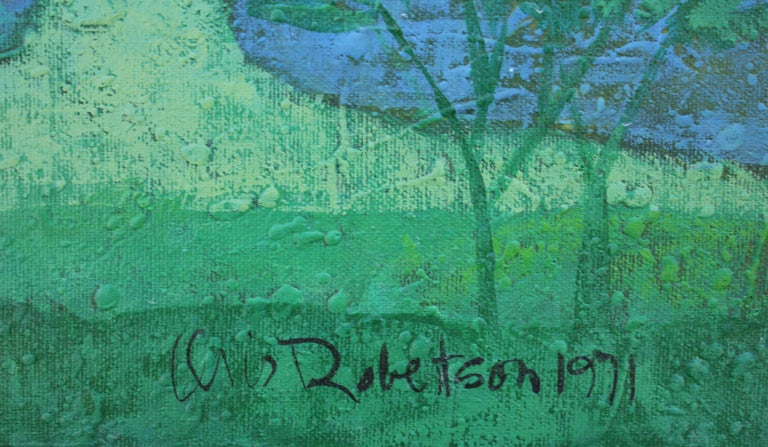 Blue, Green and Purple Tonal Landscape Painting For Sale 3