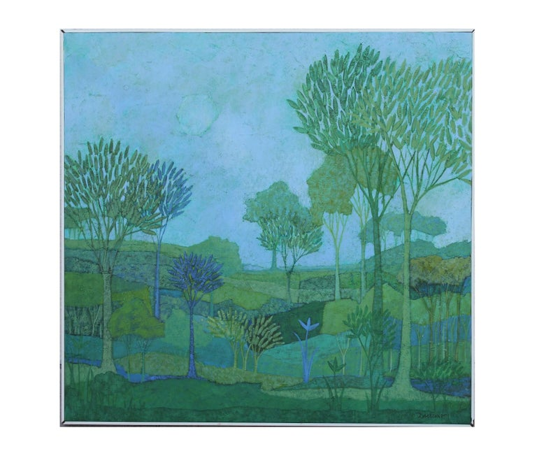 Blue, green, and purple tonal painting of a landscape in the style of David Adickes. Painting is signed and dated by the artist in the bottom right corner.  Dimensions without frame: H 38 in x W 40 in x D .5 in   Artist Biography: Oris Robertson was