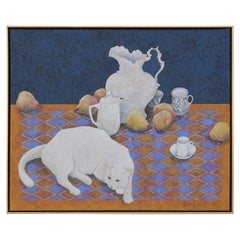 Cat with Tea Set and Pears Still Life Painting