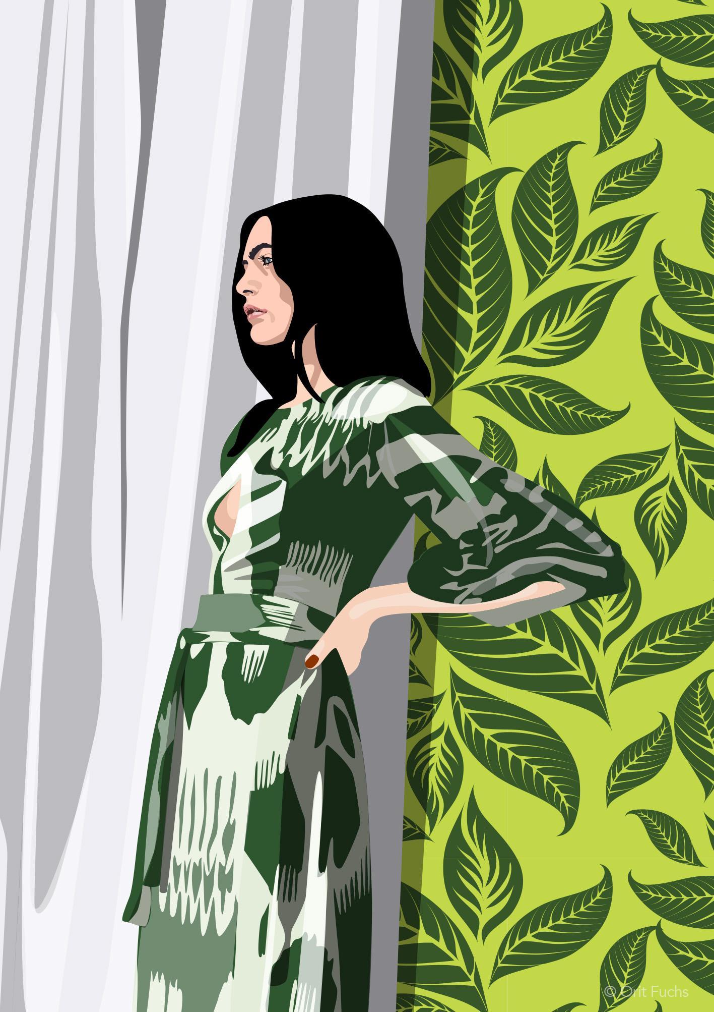 Orit Fuchs: Vivid 34 - Giclee print on canvas female figure painting