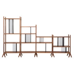 Orizaba Double Sided Bookcase A and C, Wood and Aluminium, Contemporary Design