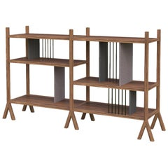 Orizaba Two Sided Bookcase Module A, Wood and Aluminium, Contemporary Design