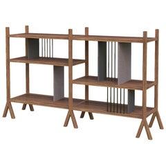 Orizaba Two Sided Bookcase Module A, Wood and Aluminium, Contemporary Design