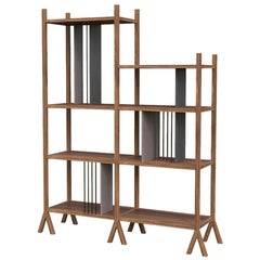 Orizaba Two Sided Bookcase Module C, Wood and Aluminium, Contemporary Design