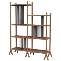 Orizaba Two Sided Bookcase Module C, Wood and Aluminium, Contemporary Design