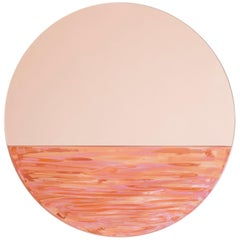 Orizon Rounded Hand Glazed Ceramic Mirror in Coral Pink