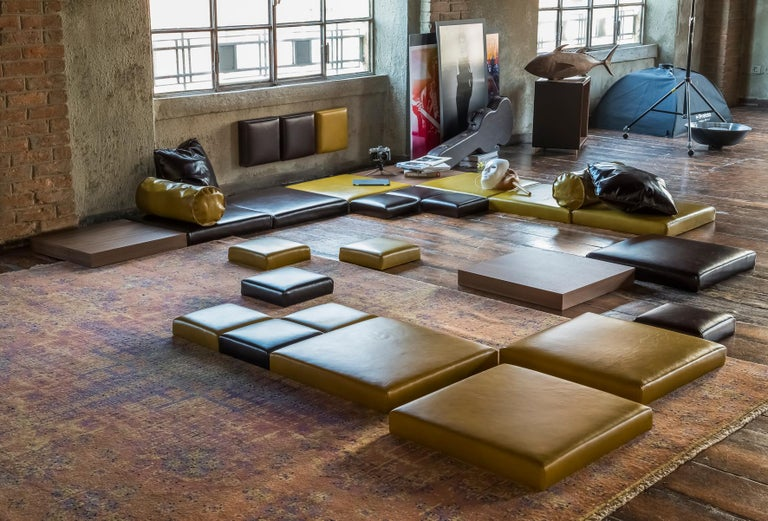 Orizzonti satisfies a desire to experience domestic living with nonchalance, unrestricted by traditional furnishing categories. Made up of modular elements that may be arranged freely on the floor, this system represents neither a rug nor a sofa,