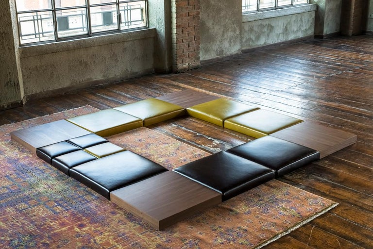Modern Orizzonti, Modular Seating System at Floor Level with Leather and Wood Elements For Sale
