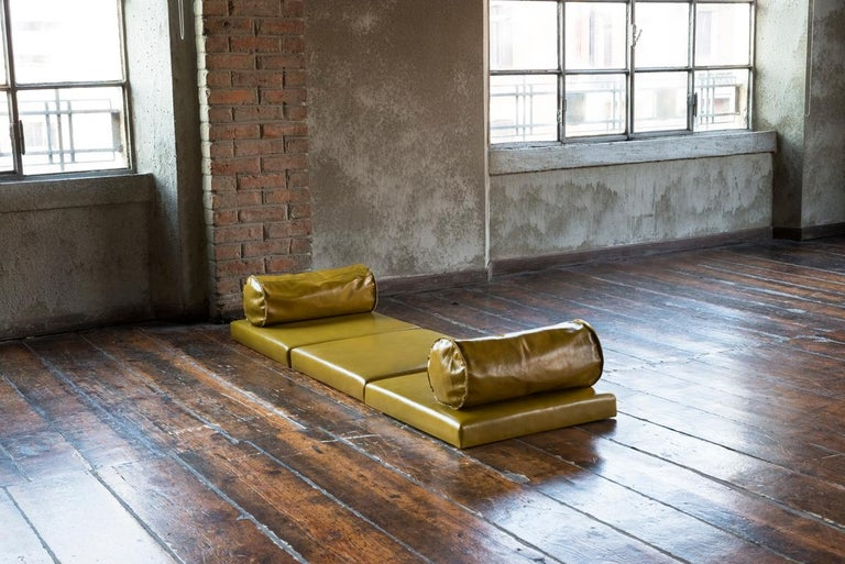 Italian Orizzonti, Modular Seating System at Floor Level with Leather and Wood Elements For Sale