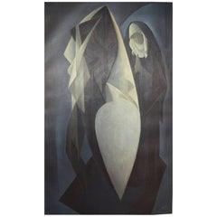 Orla Muff '1903-1984', Danish Painter, Oil on Canvas, Praying Nun and Nude Model