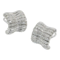 Orlandini 18 Karat White Gold and Diamond Earrings with Approximately 1.00 Carat