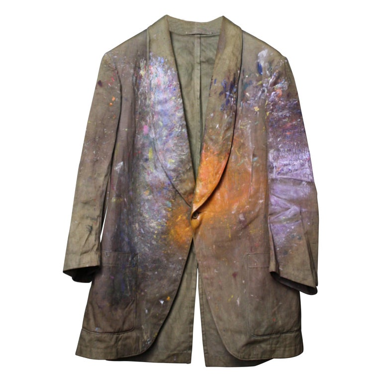 Orlando Greenwood 1892-1989 the Artists Canvas Painting Jacket, Pipe and Photo For Sale