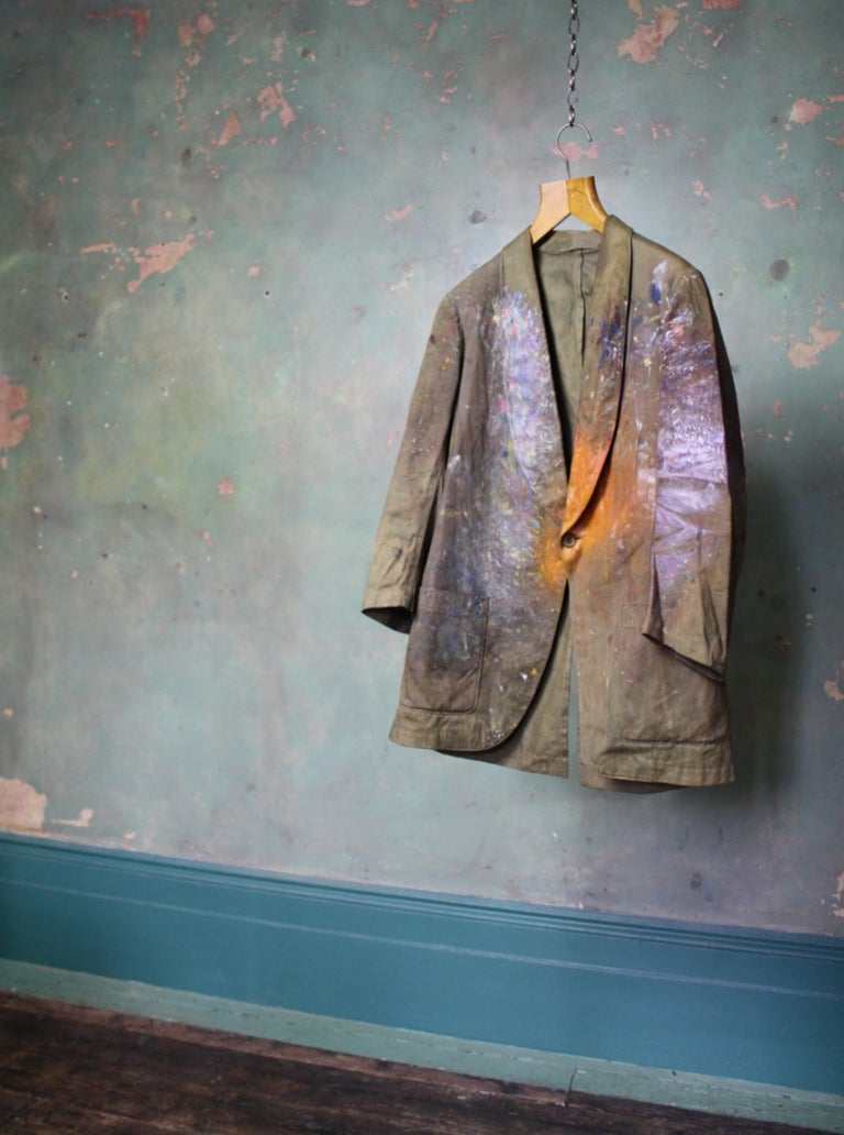 Orlando Greenwood 1892-1989 the Artists Canvas Painting Jacket, Pipe and Photo For Sale 8