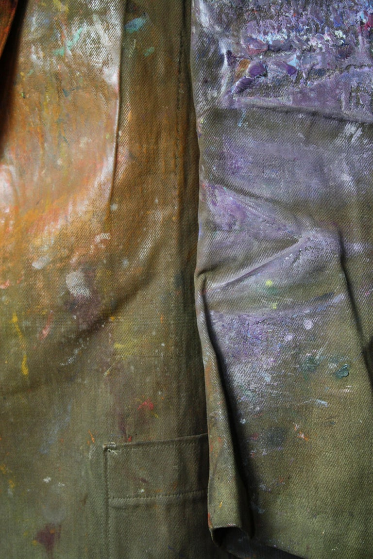 Orlando Greenwood 1892-1989 the Artists Canvas Painting Jacket, Pipe and Photo For Sale 9