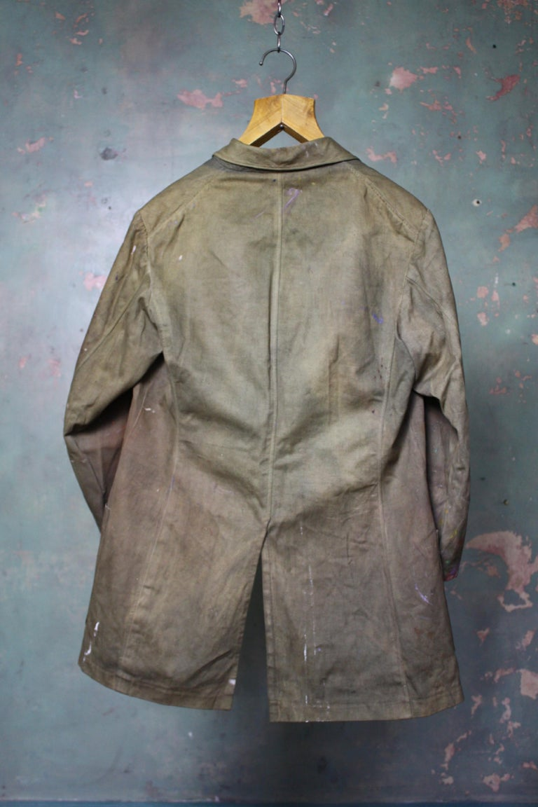 Orlando Greenwood 1892-1989 the Artists Canvas Painting Jacket, Pipe and Photo For Sale 10
