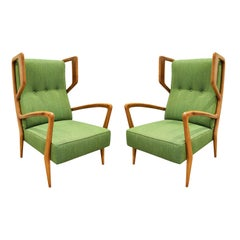 Orlando Orlandi Attributed Pair of High Back Lounge Chairs, 1950s