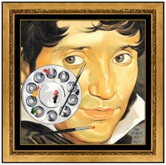 Orlando Quevedo Original Oil Painting On Canvas Signed Self Portrait Surreal Art