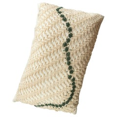 ORMA, Large Natural White and Green Cotton Cushion