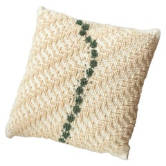 ORMA, Small Natural White and Green Cotton Cushion
