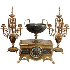 Ormolu and Cloisonné Enamel Three-Piece Clock Garniture by F.Barbedienne
