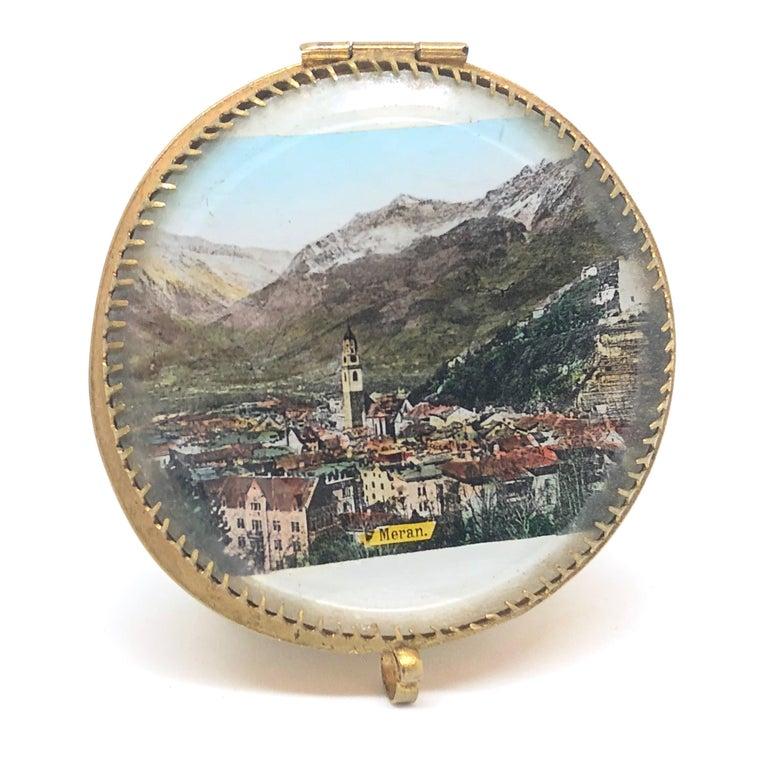 Hollywood Regency Ormolu and Glass Souvenir Trinket Jewelry Box, City of Meran, Italy, circa 1900s For Sale