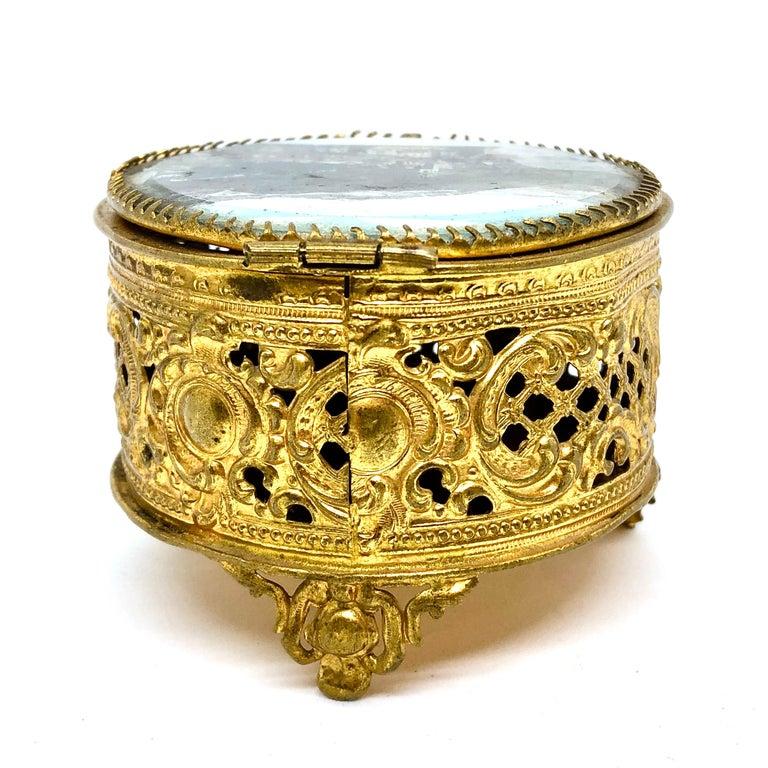Italian Ormolu and Glass Souvenir Trinket Jewelry Box, City of Meran, Italy, circa 1900s For Sale