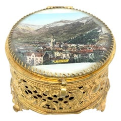 Ormolu and Glass Souvenir Trinket Jewelry Box, City of Meran, Italy, circa 1900s