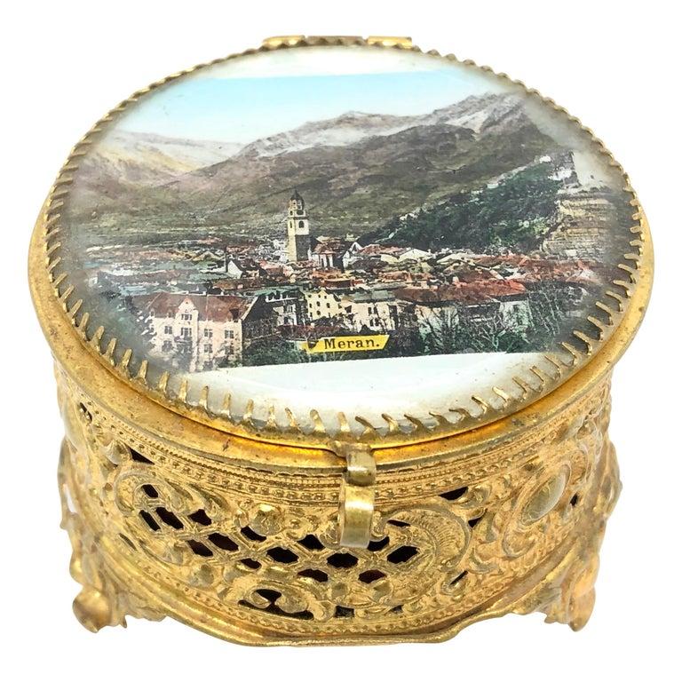 Ormolu and Glass Souvenir Trinket Jewelry Box, City of Meran, Italy, circa 1900s For Sale