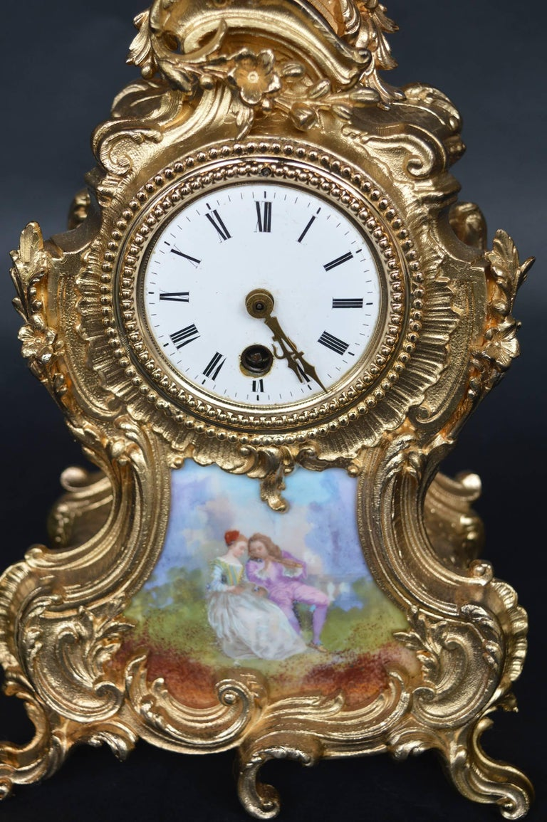 Ormolu and hand-painted French clock.