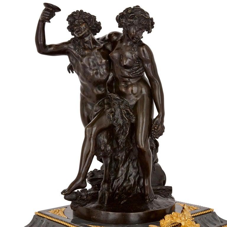 Belle Époque Ormolu and Patinated Bronze Mounted Clock Set by Denière For Sale