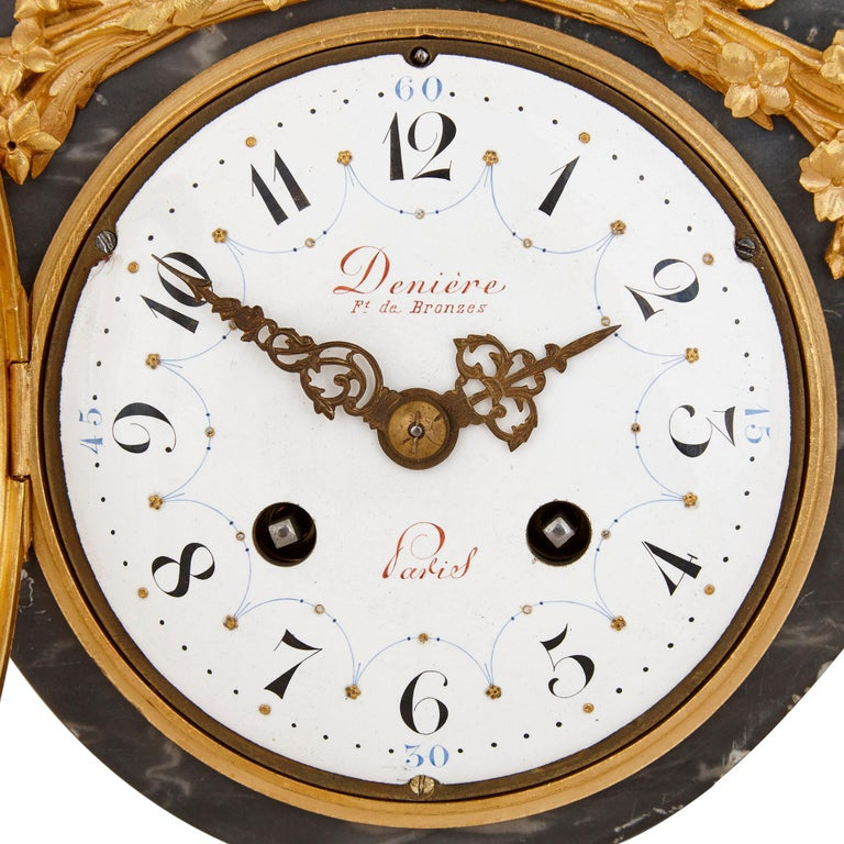 French Ormolu and Patinated Bronze Mounted Clock Set by Denière For Sale