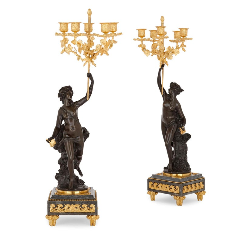Gilt Ormolu and Patinated Bronze Mounted Clock Set by Denière For Sale