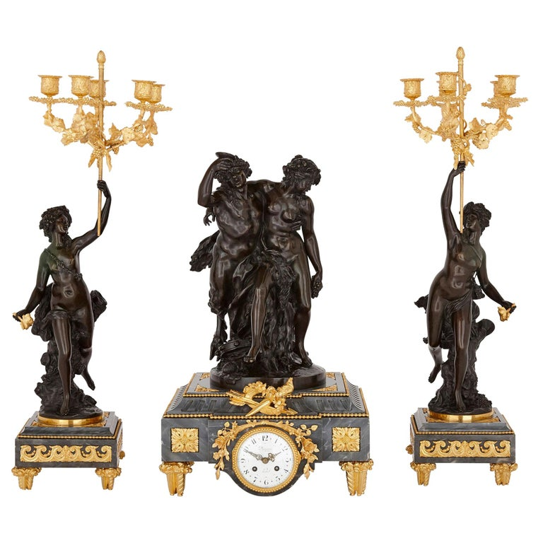 Ormolu and Patinated Bronze Mounted Clock Set by Denière For Sale