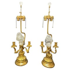 Ormolu and Rock Crystal Bird Candelabra Lamps, French Louis XV Style