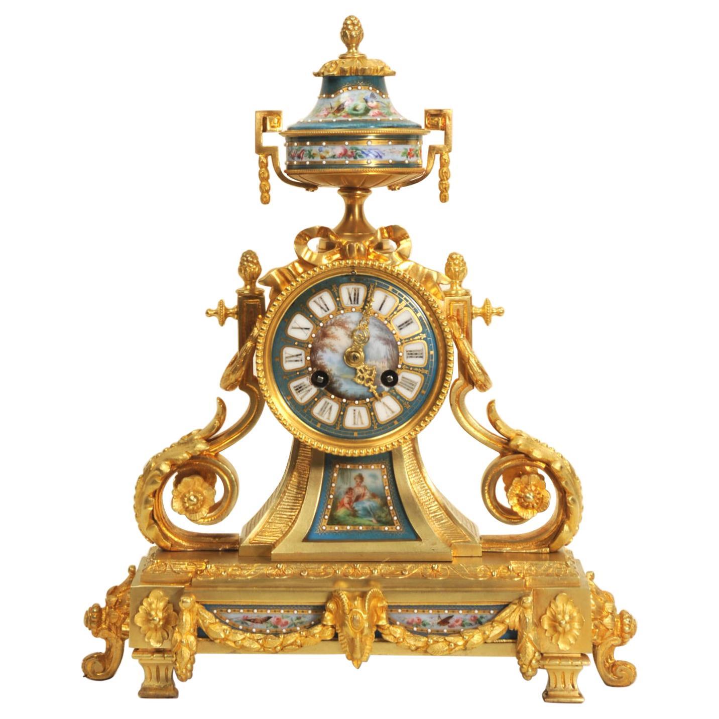 Ormolu and Sevres Porcelain Antique French Clock by Le Roy et Fils