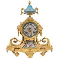 Ormolu and Sevres Porcelain Boudoir Clock