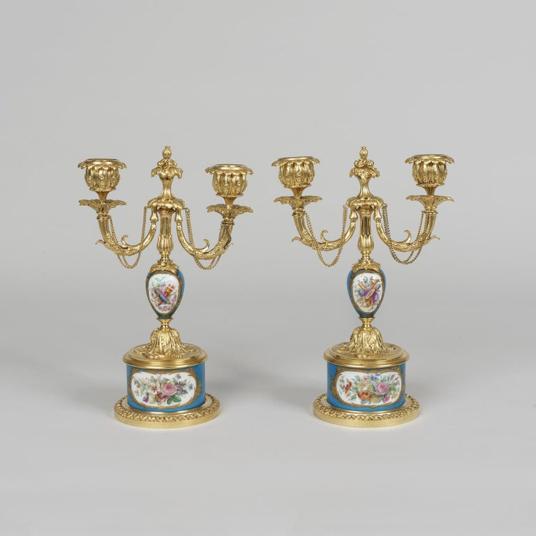 Gilt Ormolu and Sèvres Style Porcelain Mounted Clock Set in the Louis XVI Manner For Sale
