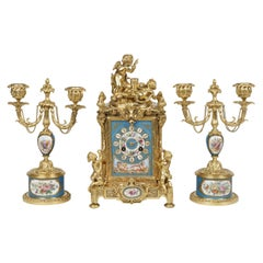 Ormolu and Sèvres Style Porcelain Mounted Clock Set in the Louis XVI Manner