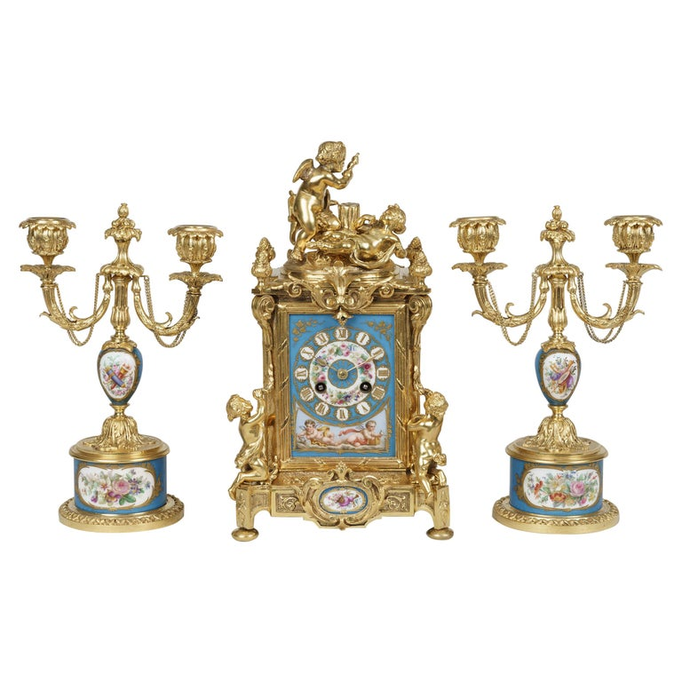Ormolu and Sèvres Style Porcelain Mounted Clock Set in the Louis XVI Manner For Sale