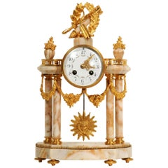 Ormolu and Sienna Marble Portico Louis XVI Antique French Clock, Love