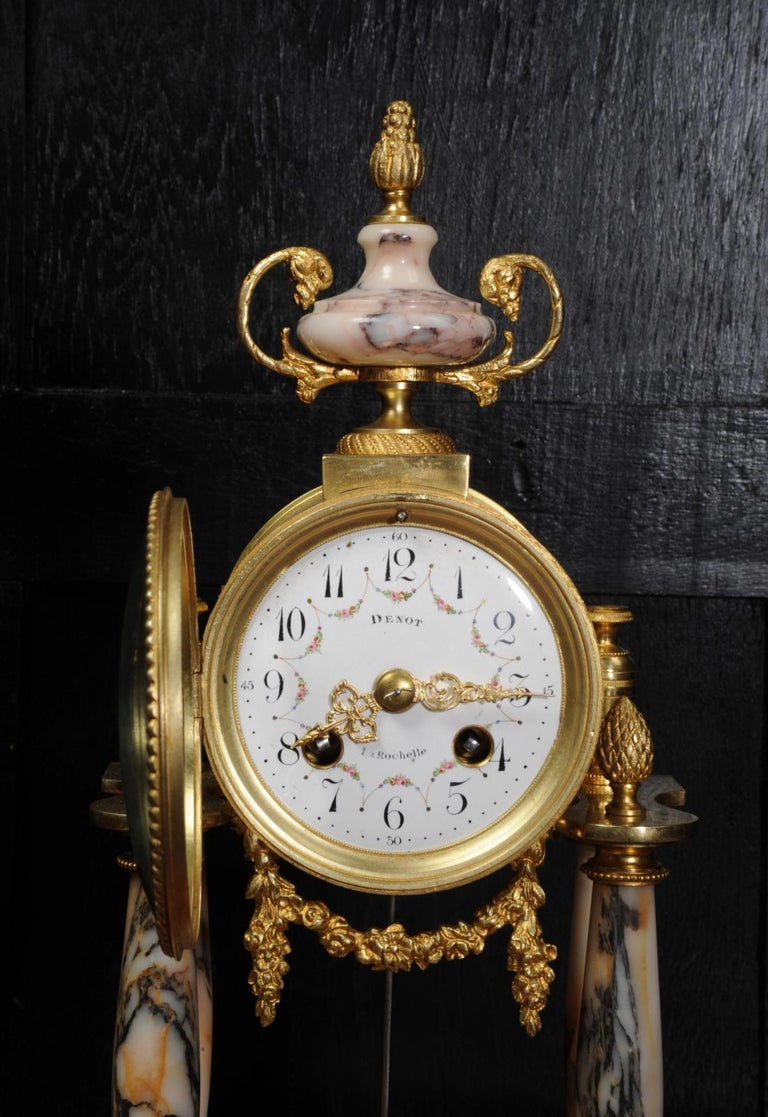 Ormolu and Specimen Marble Portico Antique French Clock Louis XVI For Sale 6