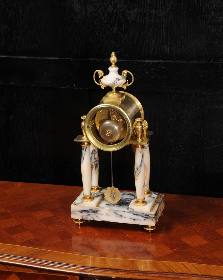 Ormolu and Specimen Marble Portico Antique French Clock Louis XVI For Sale 7