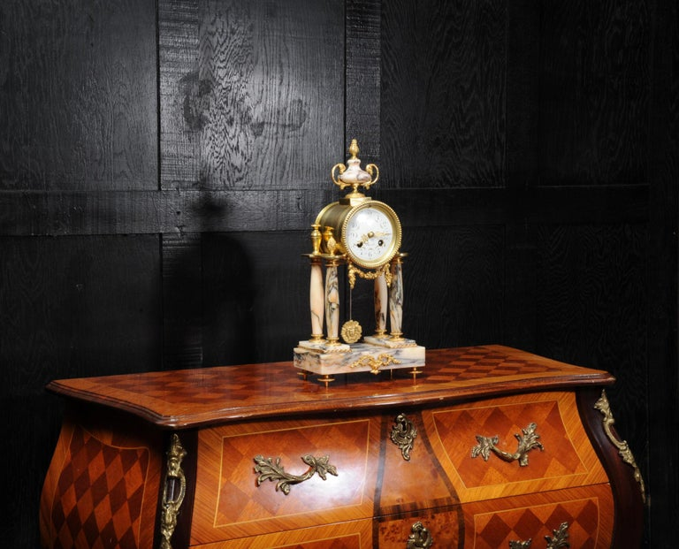 Ormolu and Specimen Marble Portico Antique French Clock Louis XVI In Good Condition For Sale In Belper, Derbyshire