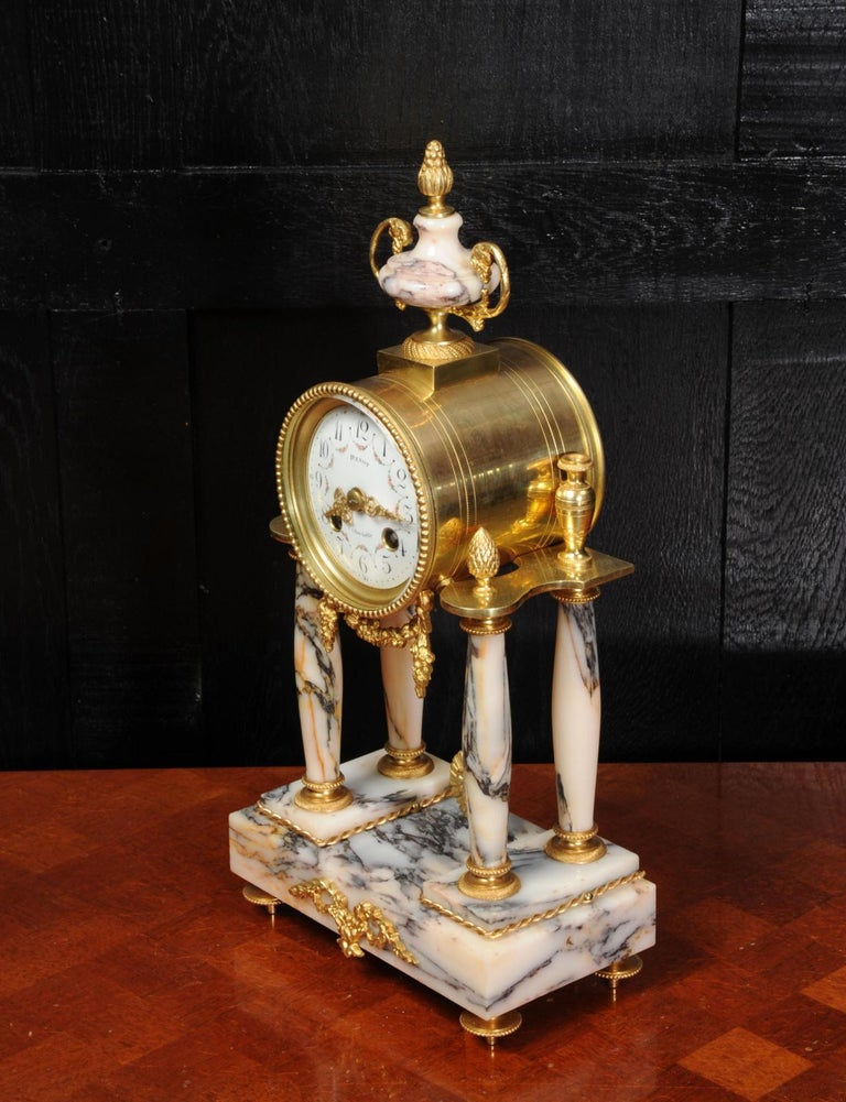 Ormolu and Specimen Marble Portico Antique French Clock Louis XVI For Sale 1