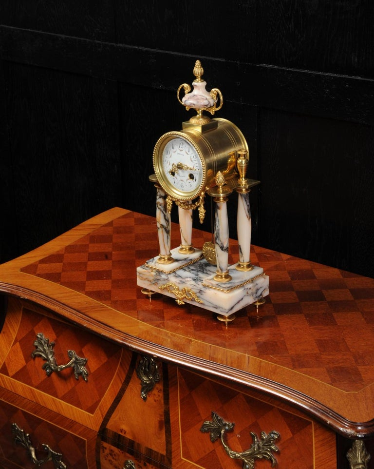 Ormolu and Specimen Marble Portico Antique French Clock Louis XVI For Sale 2