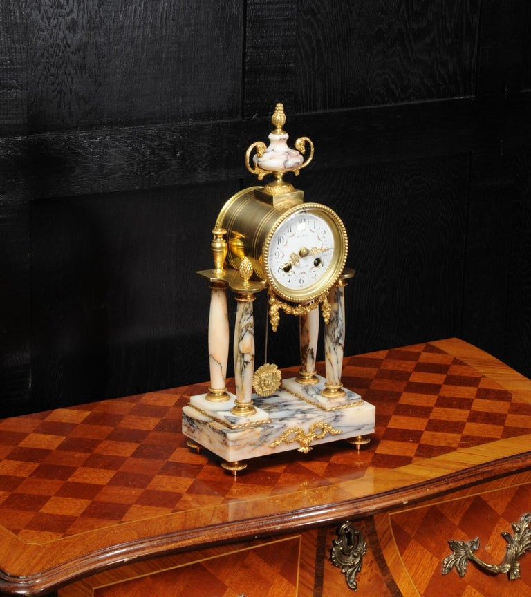 Ormolu and Specimen Marble Portico Antique French Clock Louis XVI For Sale 3