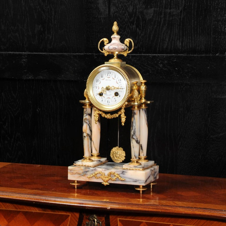 Ormolu and Specimen Marble Portico Antique French Clock Louis XVI For Sale 5