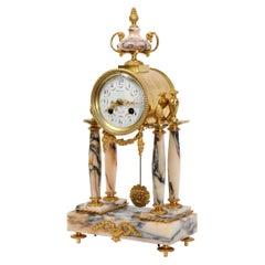 Ormolu and Specimen Marble Portico Antique French Clock Louis XVI